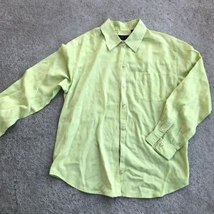Women's Green Button Down Long Sleeve Shirt